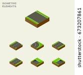isometric road set of driveway  ...   Shutterstock .eps vector #673207861
