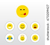 flat icon face set of angel ... | Shutterstock .eps vector #673209427