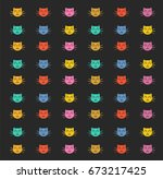 pattern with colored cats on a... | Shutterstock .eps vector #673217425
