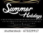 font handcrafted vector script... | Shutterstock .eps vector #673229917