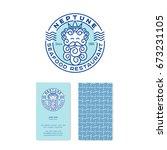 neptune logo. poseidon logo.... | Shutterstock .eps vector #673231105