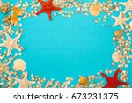 different seashells and... | Shutterstock . vector #673231375