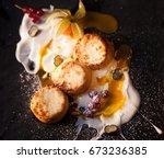 delicious healthy breakfast....   Shutterstock . vector #673236385