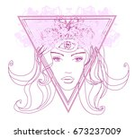 woman with third eye  psychic...