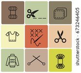 knitting and embroidering icons | Shutterstock .eps vector #673246405