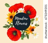 vintage card with meadow flowers | Shutterstock .eps vector #673249201