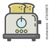 toaster colorful line icon ... | Shutterstock .eps vector #673250875