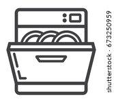 dishwasher line icon  kitchen...   Shutterstock .eps vector #673250959