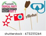 set of printable tropical party ... | Shutterstock .eps vector #673255264