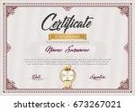 certificate of achievement... | Shutterstock .eps vector #673267021