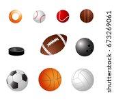 set of balls on isolated white... | Shutterstock .eps vector #673269061