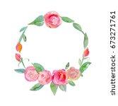 decorative flower wreath. frame....   Shutterstock . vector #673271761