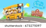 vector illustration of happy... | Shutterstock .eps vector #673275097
