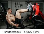 brutal strong athletic men... | Shutterstock . vector #673277191