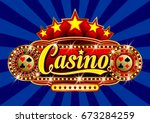 advertising signboard casino in ... | Shutterstock .eps vector #673284259