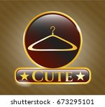 gold emblem or badge with... | Shutterstock .eps vector #673295101