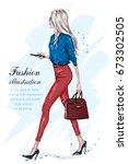 Beautiful fashion woman walking. Fashion stylish girl with accessories. Stylish businesswoman. Hand drawn fashion model in sunglasses. Sketch. Vector illustration. | Shutterstock vector #673302505