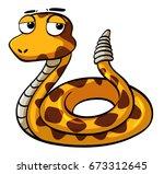Rattle Snake On White...