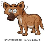 wild dog with dizzy face... | Shutterstock .eps vector #673312675