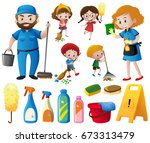 people doing chores and... | Shutterstock .eps vector #673313479