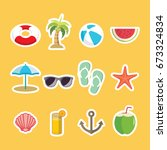 set of cartoon summer themed... | Shutterstock .eps vector #673324834