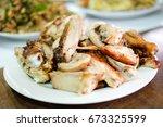 delicious roast chicken for... | Shutterstock . vector #673325599