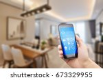 mobile phone with apps on smart ... | Shutterstock . vector #673329955