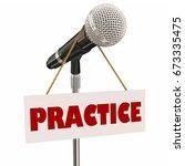 practice sign microphone... | Shutterstock . vector #673335475