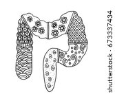 large intestine in zentangle | Shutterstock .eps vector #673337434