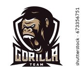 gorilla big foot monkey animal... | Shutterstock .eps vector #673356751