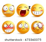 smileys vector set. yellow... | Shutterstock .eps vector #673360375