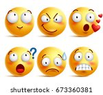 smileys vector set. yellow... | Shutterstock .eps vector #673360381