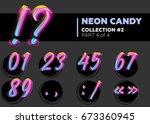 vector neon character typeset.... | Shutterstock .eps vector #673360945