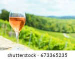 wine glass with vineyard | Shutterstock . vector #673365235