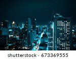 aerial drone view of bangkok... | Shutterstock . vector #673369555