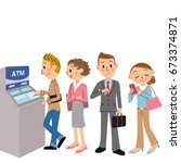 people who line banks | Shutterstock .eps vector #673374871