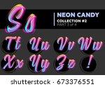 vector neon character typeset.... | Shutterstock .eps vector #673376551