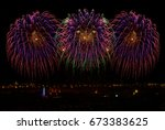 coloful fireworks in malta.... | Shutterstock . vector #673383625