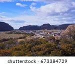 el chalten village view from...   Shutterstock . vector #673384729