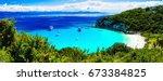 turquoise beautiful beach... | Shutterstock . vector #673384825