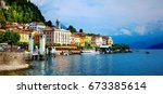 beautiful lago di como  ... | Shutterstock . vector #673385614