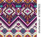 retro colors tribal vector... | Shutterstock .eps vector #673387021