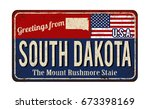 greetings fom south dakota... | Shutterstock .eps vector #673398169