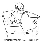 the old man sitting in an... | Shutterstock .eps vector #673401349