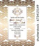 vintage baroque style wedding... | Shutterstock .eps vector #673415149