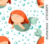 seamless pattern with cute...   Shutterstock .eps vector #673418095