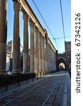 St. Lorenzo columns, roman ruins in front of St. Lorenzo basilica, Milan, Italy - stock photo