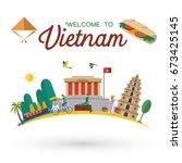 flat design  welcome to vietnam ... | Shutterstock .eps vector #673425145