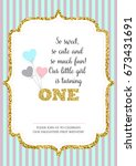 first birthday invitation for... | Shutterstock .eps vector #673431691