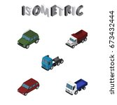 isometric automobile set of... | Shutterstock .eps vector #673432444
